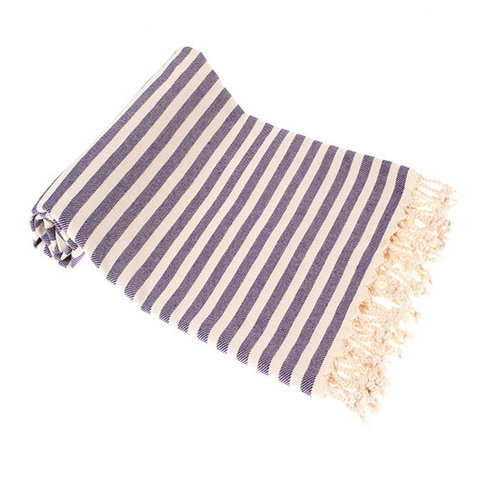 Hamams own hamamdoek natural purple stripes