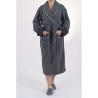 bamboe wafel badjas antraciet  - gevoerd