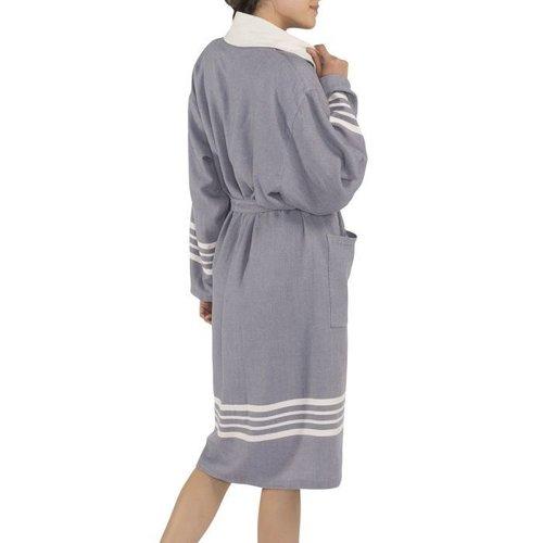 Lalay gevoerde hamam badjas Nijl dark grey