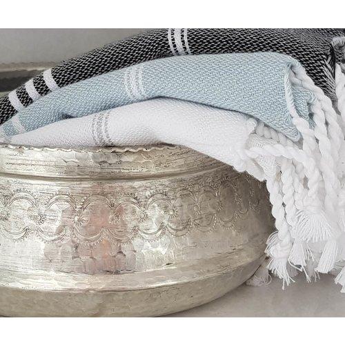 Ottomania badstof gastendoekje grijsgroen
