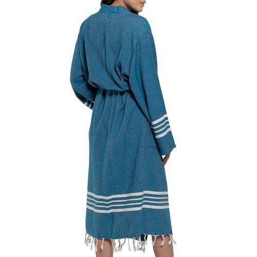 Lalay hamam badjas Krem Sultan blue petrol
