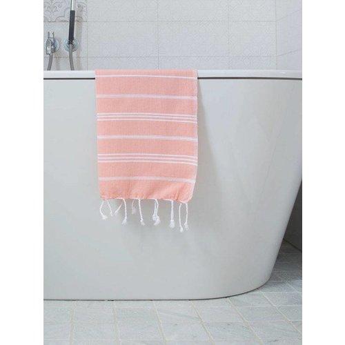 Ottomania hamam handdoek donkerperzik met witte strepen 100x50cm