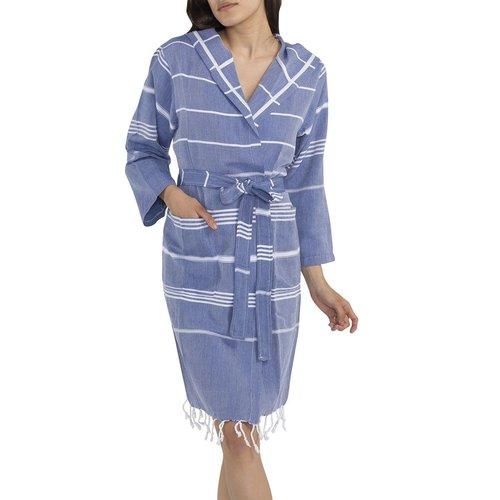 Lalay korte hamam badjas Leyla royal blue
