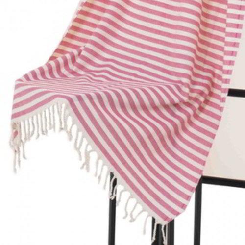 Hamams own hamamdoek natural pink stripes