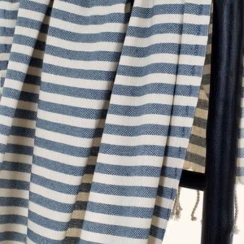 Hamams own hamamdoek natural blue stripes