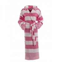 dames badjas voor sauna roze gestreept - extra dun