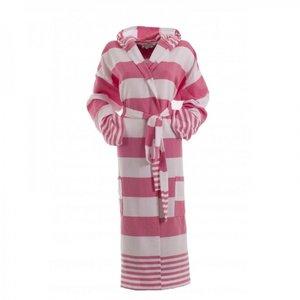 Hamams own dames badjas voor sauna roze gestreept - extra dun
