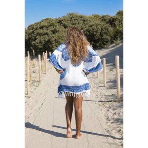 Hamams own strandtuniek Flower white royal blue