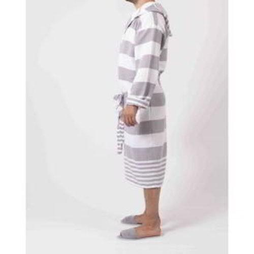 Hamams own hamam badjas  met capuchon grijsbruin gestreept
