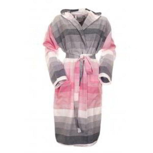 Hamams own dames badjas met capuchon roze (antraciet)grijs