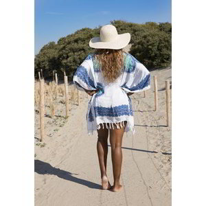 Hamams own strandtuniek Flower white blue turquoise
