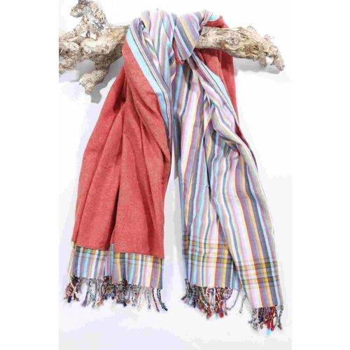 PURE Kenya kikoy strandlaken washed red stripes
