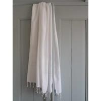 hamamdoek XL wit met glanzend witte strepen