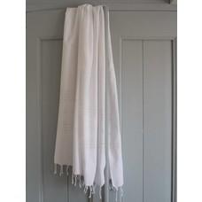 Ottomania hamamdoek XL wit met glanzend witte strepen