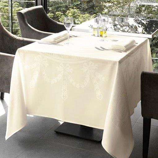De Witte Lietaer Nero wit/champagne damast vierkant tafellinnen 210x210