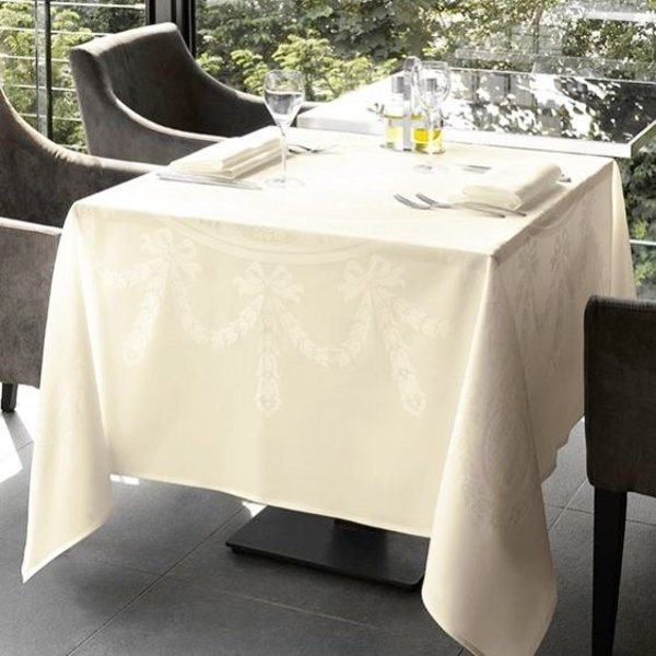Nero wit/champagne damast vierkant tafellinnen 206x206 + 210x210