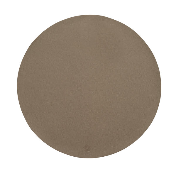 Jazz taupe lederlook ronde placemats