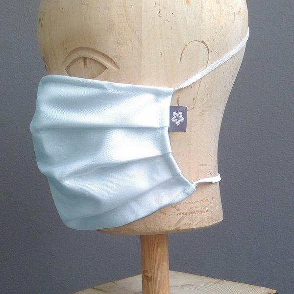 Mondkapje katoen geplooid ijsblauw/ zacht grijs met neusbrug