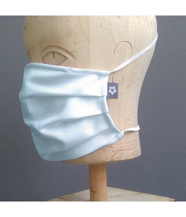 Pichler Mondkapje katoen geplooid ijsblauw/ zacht grijs met neusbrug