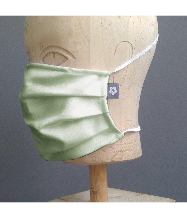Pichler Mondkapje katoen geplooidzacht army green met neusbrug