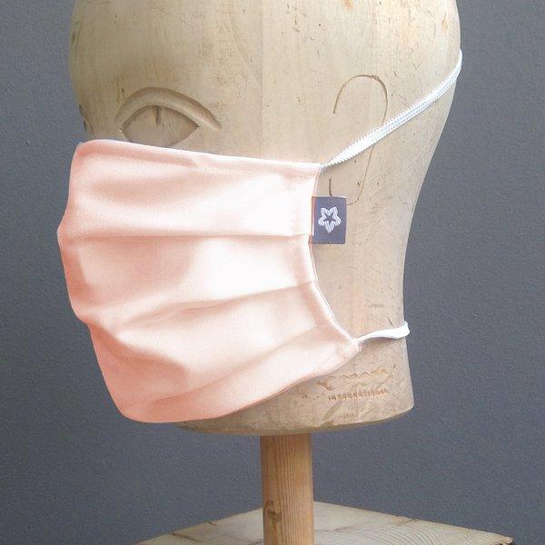 Mondkapje katoen geplooid zalm roze met neusbrug