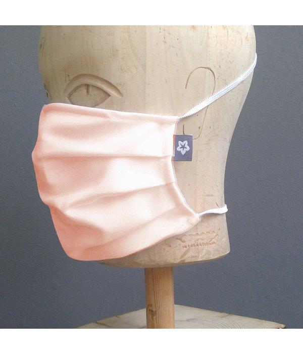 Pichler Mondkapje katoen geplooid zalm roze met neusbrug
