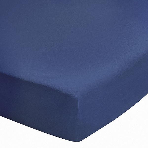 Hoeslaken softline bleu nuit, stonewashed katoen 200TC