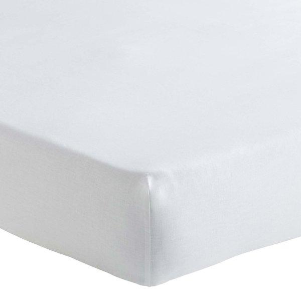 Hoeslaken Ontario halflinnen wit