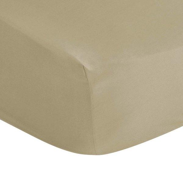 Hoeslaken taupe 300TC matrashoogte tot 20 cm hoog