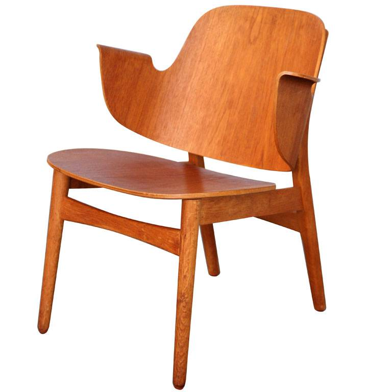 Vintage plywood stoel van Hans Olsen