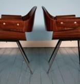 Palissander plywood stoel met armleuningen van Carlo Ratti