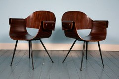 Rosewood plywood chair with armrests by Carlo Ratti