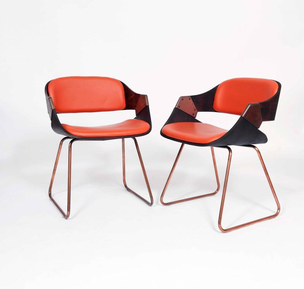 Vintage Plywood Rudi Verelst Eetkamer Stoelen Oranje