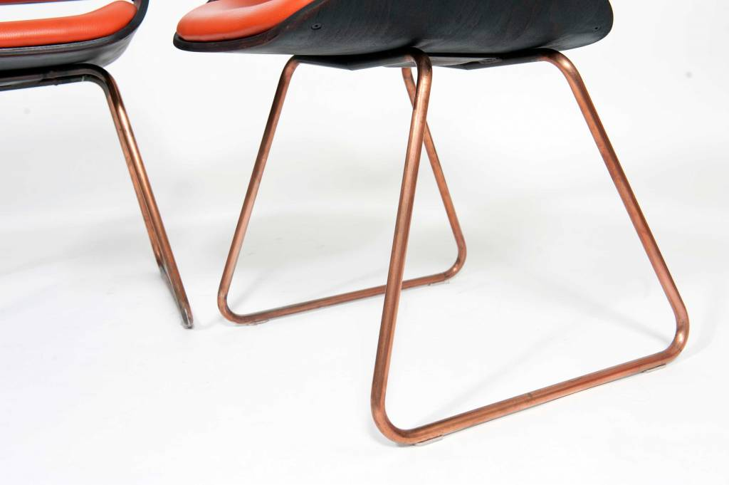 Vintage Plywood Rudi Verelst Diner Chairs Orange
