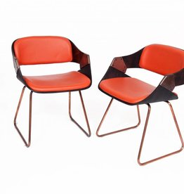 Vintage Plywood Verelst Diner Chairs Orange