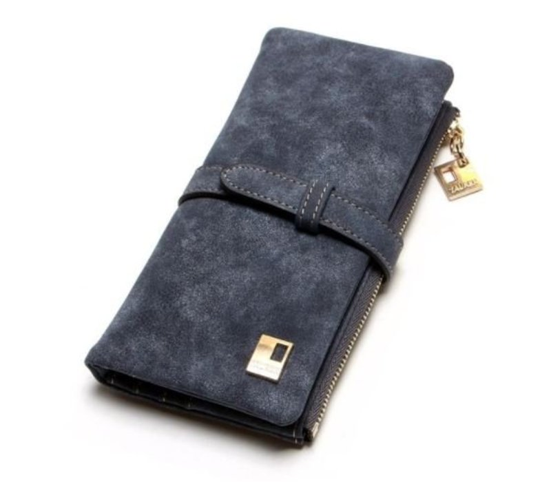 WOMEN WALLET BLACK NUBUCK WITH ZIPPER