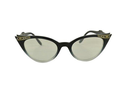 BK Zwart/Transparante Vlinder Bril - Quincy