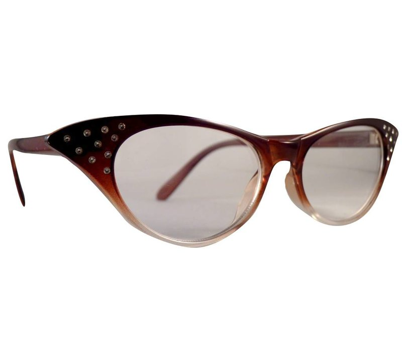 ANGIE BROWN TRANSPARANT - BROWN TRANSPARANT CATEYE CLEAR LENS GLASSES