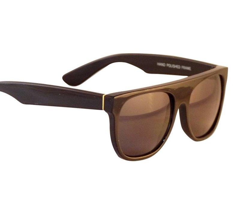 Zwarte Flattop Retro Zonnebril