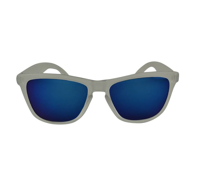 ac2c37ee430492 Transparante Spiegel Zonnebril met Blauwe spiegelglazen - Shine Way ...