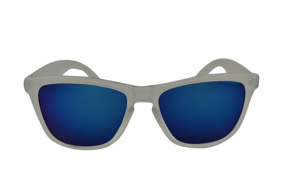 817fdab5d0fb94 Transparante Spiegel Zonnebril met Blauwe spiegelglazen - Shine Way ...