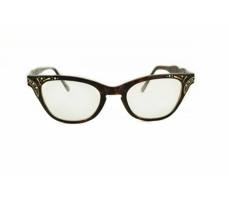 QUINCY - BROWN CAT EYE GLASSES VINTAGE 1950S FASHION CLEAR LENS GLASSES RHINESTONES