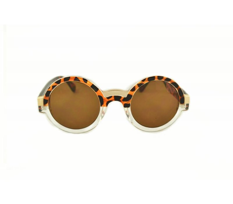 FLORENCE - BROWN TRANSPARANT ROUND WOMENS SUNGLASSES