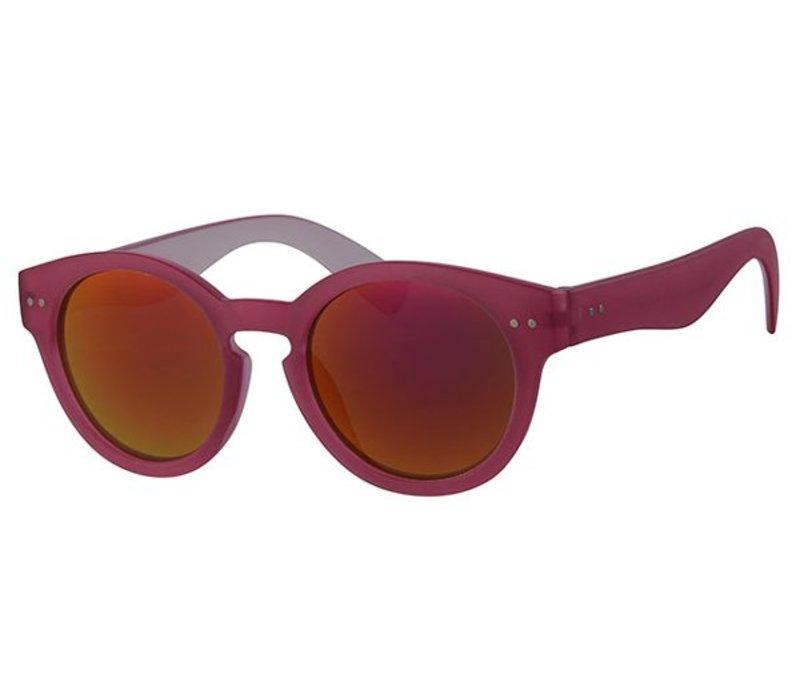 Retro Unisex Ronde Spiegel Zonnebril Summer Nights - Pink Sun