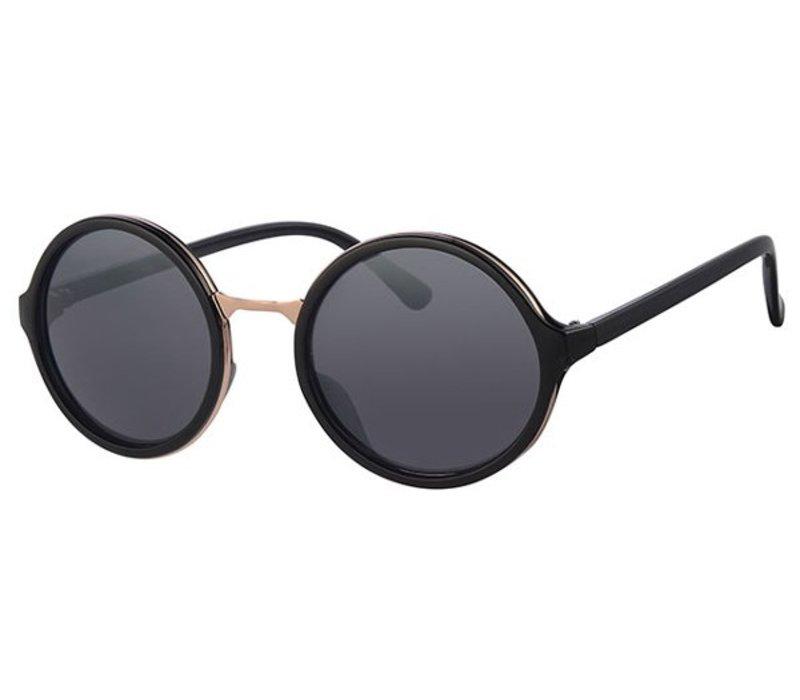 Zwarte Ronde Dameszonnebril - New Round Designer Black