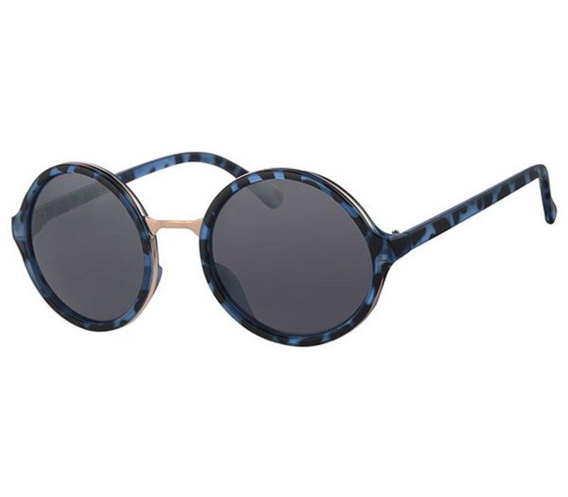 Blauwe Ronde Dameszonnebril - New Round Designer Blue Tortoise