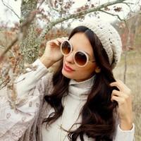 Witte Ronde Dameszonnebril - New Round Designer White