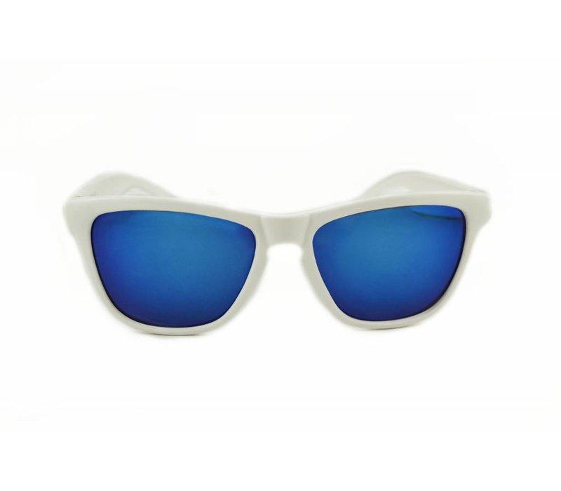 Witte Spiegel Zonnebril met Blauwe spiegelglazen - Shine Way