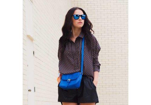 BK Zwarte Spiegelzonnebril met Blauwe Spiegelglazen - Shine Way