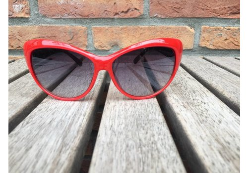 BK WOMENS RETRO CAT EYE SUNGLASSES TWO TONE RED BLACK